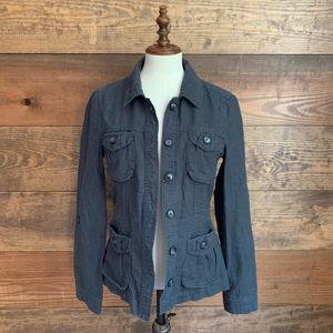 Gap Dark Gray Linen Utility Jacket